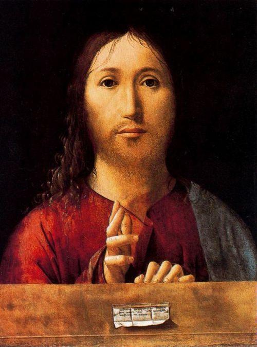 """Cristo bendiciendo un librito de papel de fumar """" (La santísima fumatta) Antonnello Da Messina"""