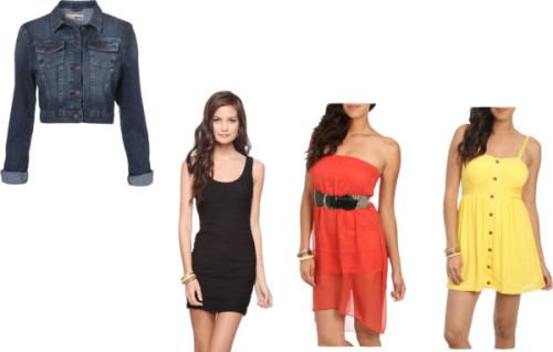 Denim Jacket #3 by thehautebunny featuring sweetheart neckline dressesWet Seal sweetheart neckline dress, $35Wet seal dress, $30Forever 21 scoop neck dress, $20Denim jacket, $76
