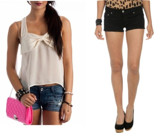 Summer Vacay #3 by thehautebunny featuring short shortsBow top, $23Wet Seal short shorts, $15