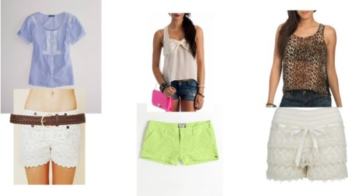 Style Lace Shorts by thehautebunny featuring a woven beltAmerican Eagle Outfitters striped top, $35Racerback top, $23Wet Seal sheer tank, $20Free People scalloped shorts, $198Volcom cotton shorts, $50Mini shorts, £16A Wear woven belt, £2.50