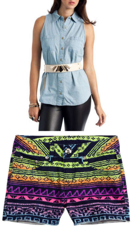 Style Aztec Shorts #2 by thehautebunny on polyvore.comsleeveless denim top, $25Colorful Patterned Denim Short, $32