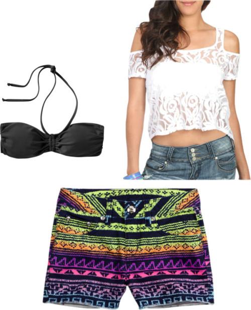 Style Aztec Shorts #3 by thehautebunny featuring a bandeau swimwearWet Seal lace top, $23Mix Match bandeau swimwear, $5Colorful Patterned Denim Short, $32