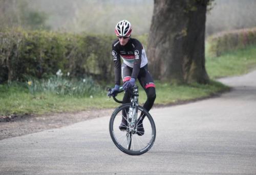 Andy Schleck practising his descending.