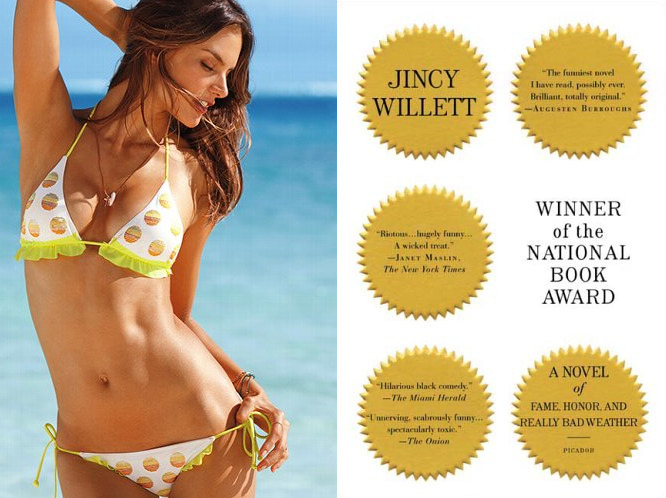 "The book: Winner of the National Book Award by Jincy Willett The first line: ""Abigal Mather was special from the very beginning."" The bikini: Abbie Polka Dot by Victoria's Secret. Top $11.99"