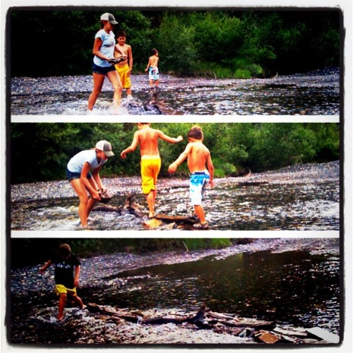 playing in the river, kids playing, instagram