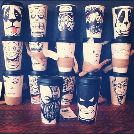 Coffee Cups as drawn by Miguel Cardona