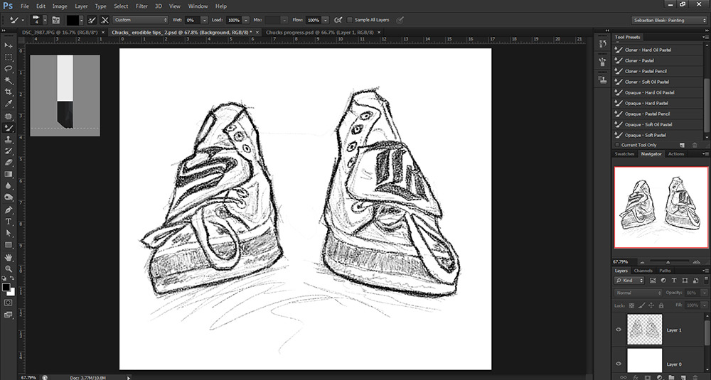 Check Taylor Allstar shoes sketched out in Photoshop CS6