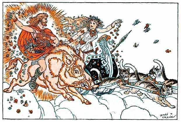 Frey riding the golden boar Gullinbursti, Freya driving her chariot pulled by cats (Image: Donn Crane. Public domain)