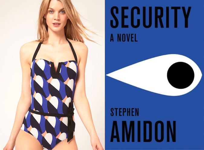 "The book: Security by Stephen Amidon <br /><br />The first sentence: ""The alarm came in just as he was leaving the office.""<br /><br />The bathing suit: Princesse Tam Tam Cloud Print Swimsuit"