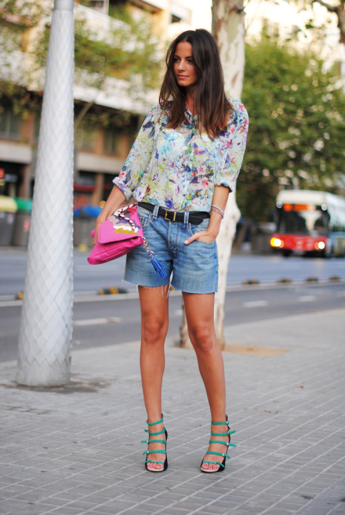 A light printed Zara shirt paired with boyfriend Diesel shorts makes for a great Summer look.