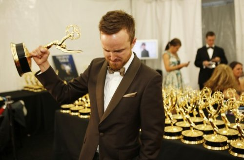 Monday Morning Awesome: Aaron Paul, last night after winning an Emmy for Breaking Bad. Last night Aaron Paul won his second Emmy for his portrayal as Jesse Pinkman on AMC's Breaking Bad.  He tearfully thanked Series creator Vince Gilligan for not killing off his character earlier in the series.  Aaron Paul's was the only win for Breaking Bad out of the show's seven nominations this year. Video of his acceptance, see if before it gets pulled.