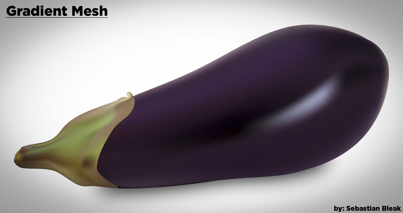 Eggplant Illustration Gradient mesh tool in Ai CS6