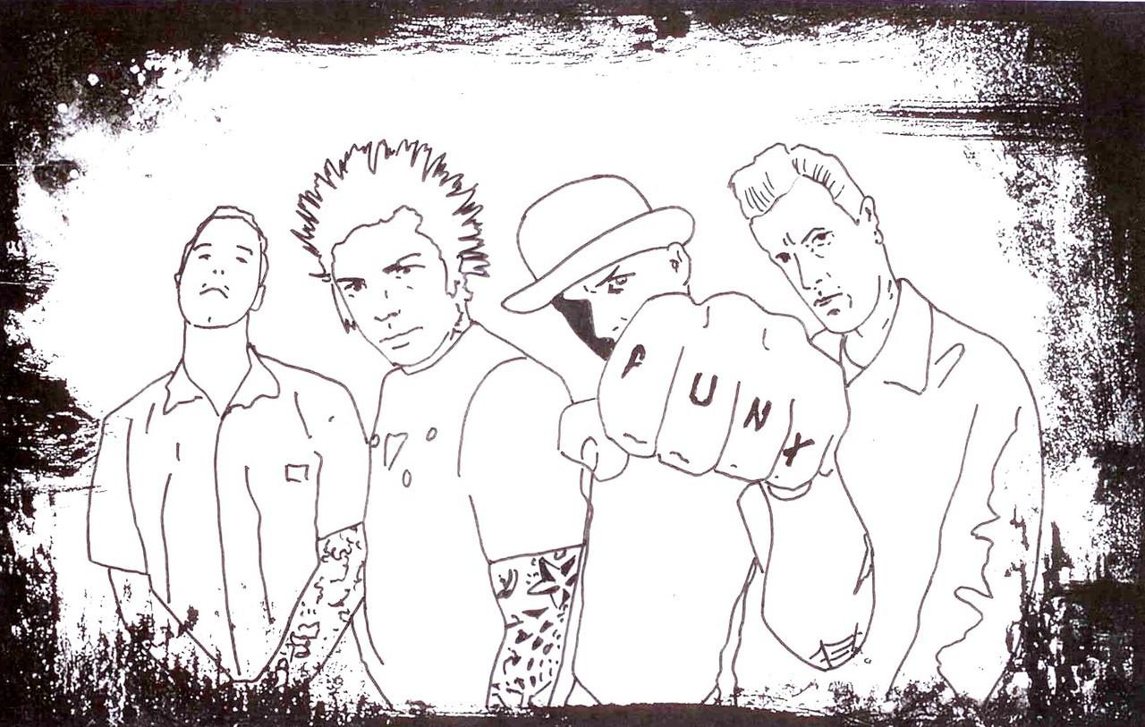 punk rocker colouring pages