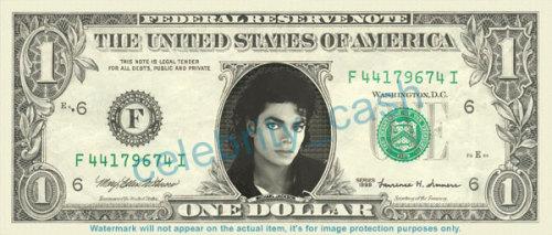マイケルジャクソンの1ドル札