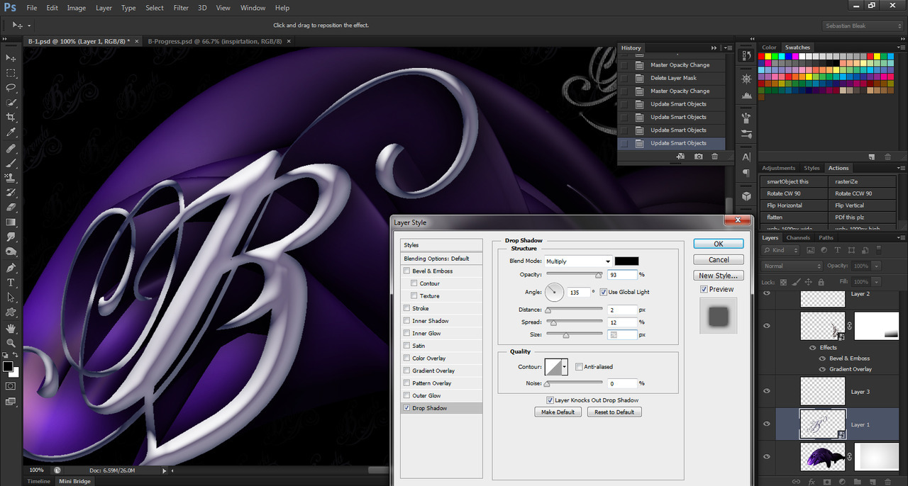 Layer effects panel in Adobe Photoshop CS6