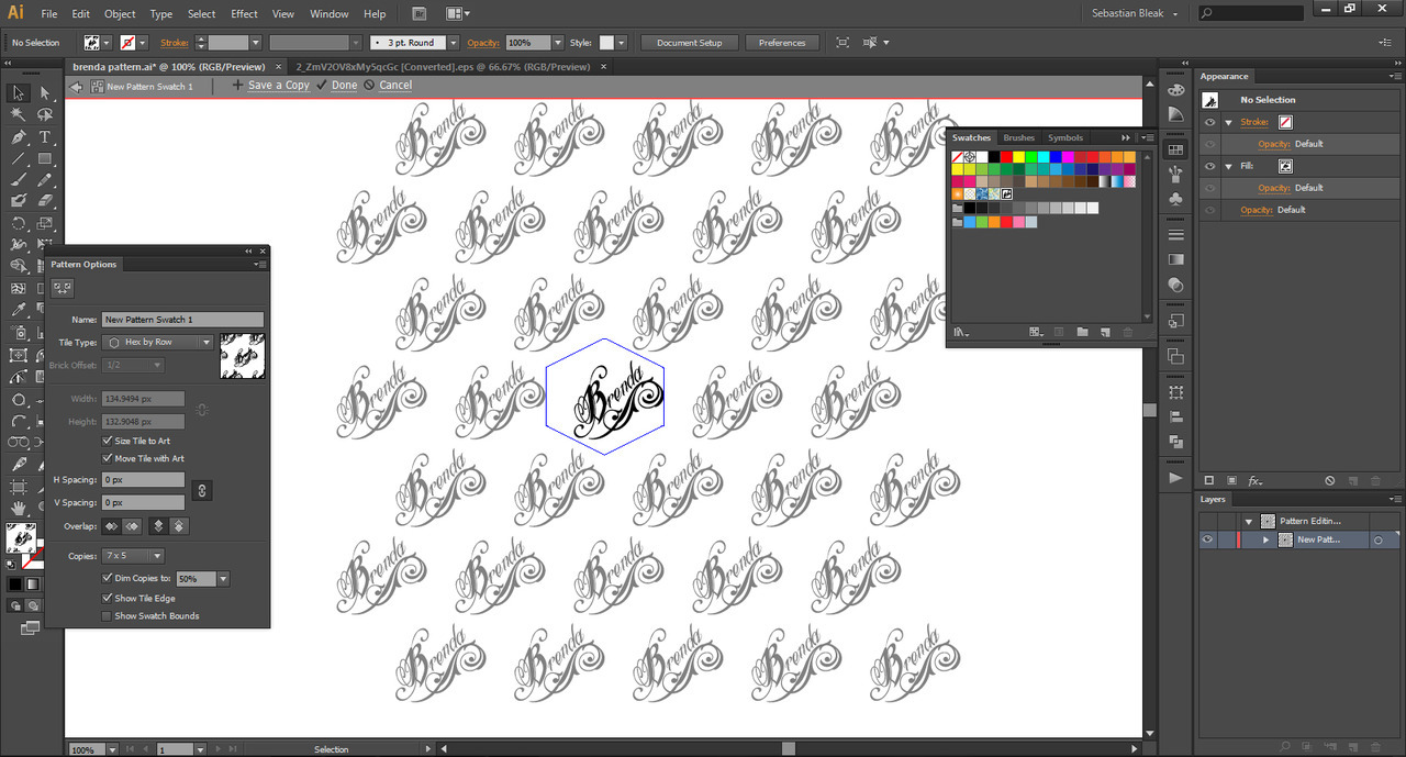 Screen shot- Pattern maker in Adobe Illustrator CS6