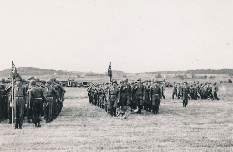 64. Lining up by Battery for formation. Cham Germany Award and Parade May 1945