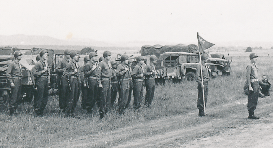 7. Cham Germany, Battery ready to enter the parade ground. 10 May to 11 July 1945. Parade Day