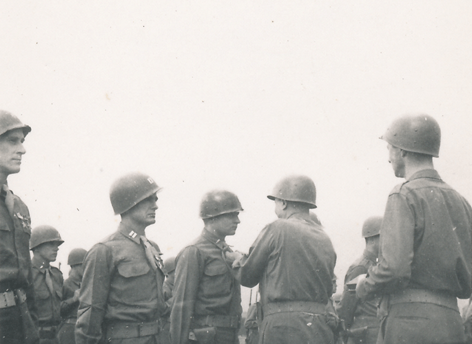 75. Lt. Marriott receiving award. Gen. Patton presenting. Cham Germany May 1945