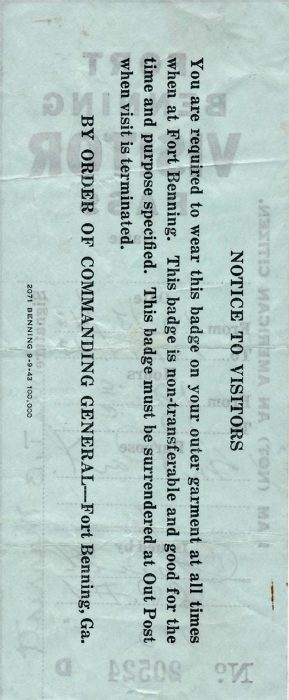 10-03-43 Fort Benning Visitor Pass Back