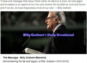 Billy Graham's Devotional 23 March 2018