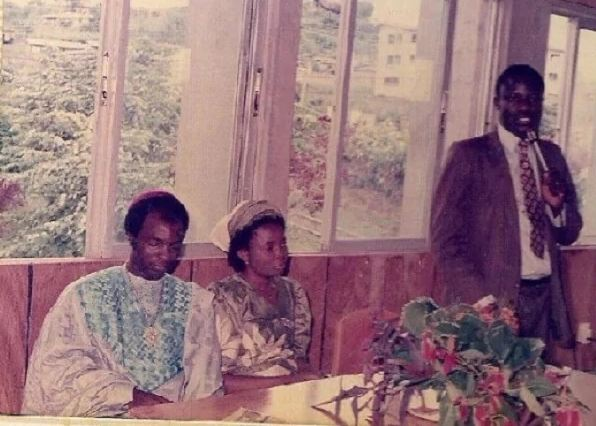 Bishop David Oyedepo at a program with his wife