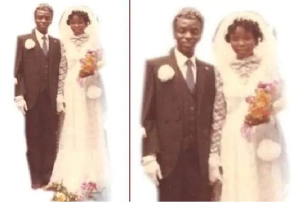 Bishop Oyedepo and wife on their wedding day