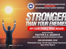 RCCG November 2018 Holy Ghost Service Stronger Than Your Enemies 10