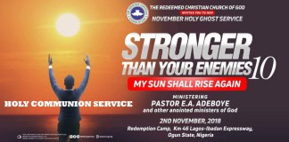 LIVE Streaming RCCG November 2018 Holy Communion Service
