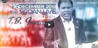 LIVE Sunday Service At The SCOAN With T.B. Joshua 16 Dec 2018