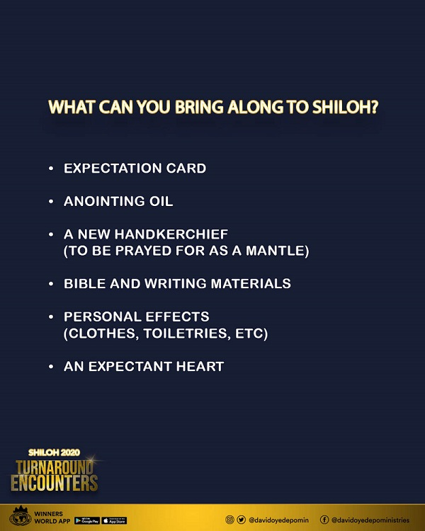 Things to bring along to Shiloh 2020