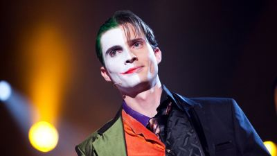 Illusionist Andrew Melia verkleed als The Joker