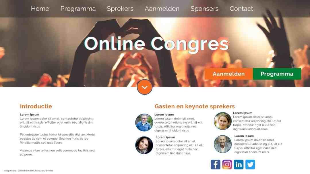 Voorbeeld van een online congres website pagina, ontworpen door Evenementenbureau 247 Events