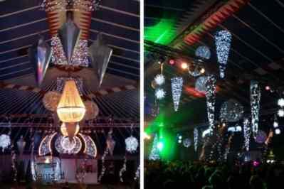 Kerstfeest zakelijk evenement personeelsfeest verlichte plafond luchtdecoratie en versiering huren organiseren afbeelding 4