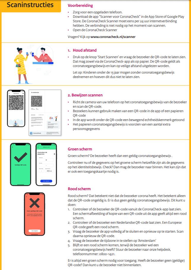 Testen voor Toegang bij evenementen Poster scaninstructies voor medewerkers