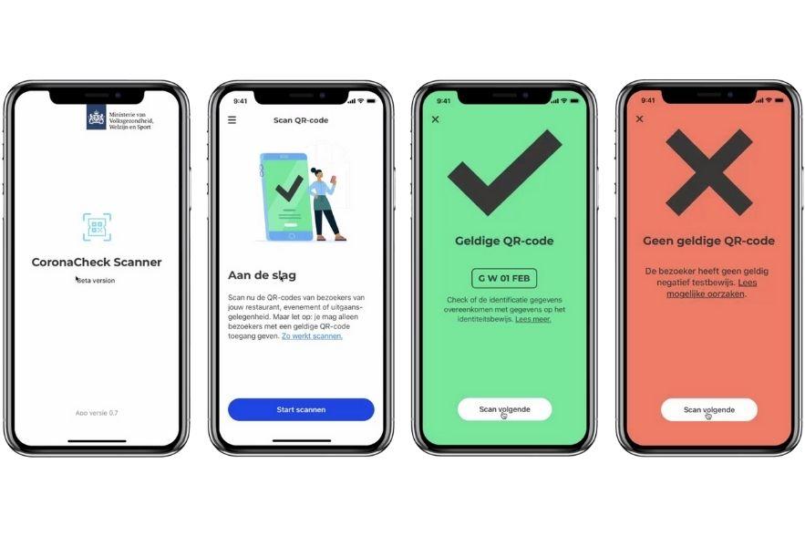 Screenshots van de Corona Check App voor het scannen en tonen van een Corona Toegangsbewijs bij het bezoeken van evenementen