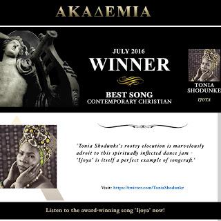 #News :Ijoya – Tonia Shodunke {@ToniaShodunke} won the best Gospel/Christian Song