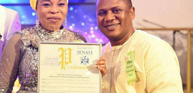 #NEWS : New York State Senate honours Lady Evang. Tope Alabi
