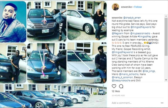 #247Gists: TIM GODFREY SPENDS OVER 20M ON BRAND NEW CARS FOR HIS TEAM