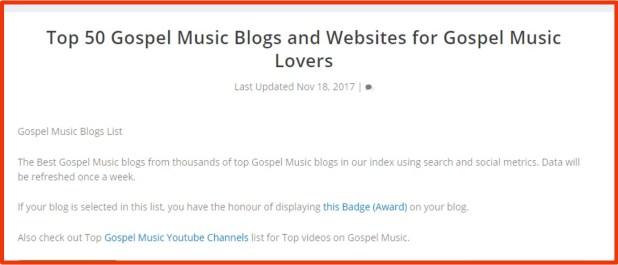 TOP 50 GOSPEL BLOGS IN THE WORLD
