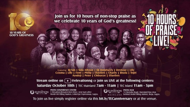 The Elevation Church Celebrates 10years Anniversary With 10 Hours Praise