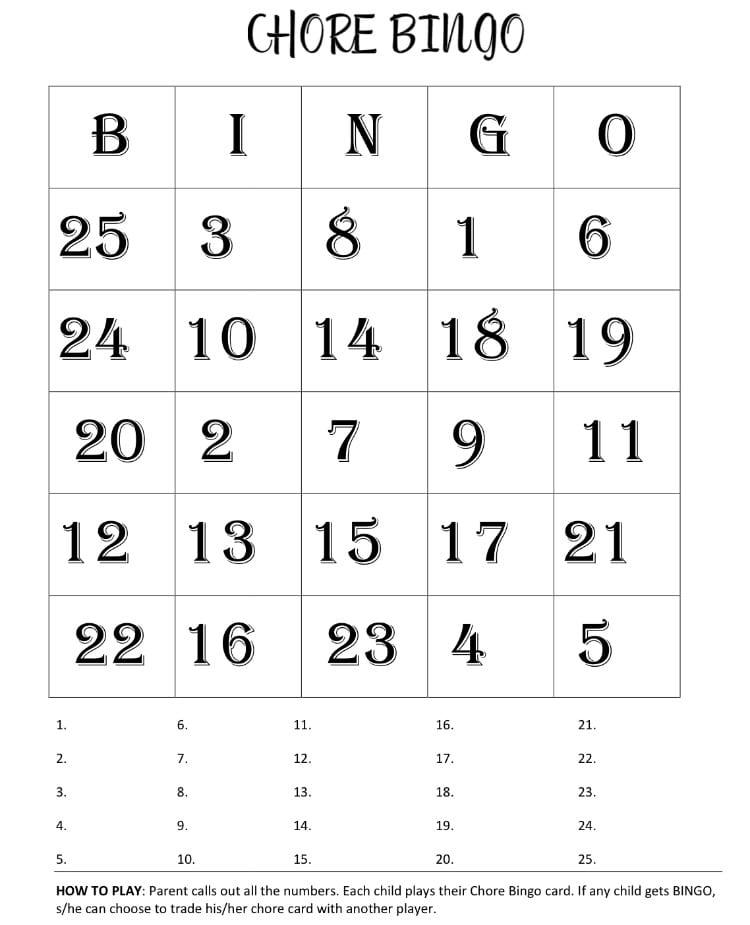 chore chart bingo printable