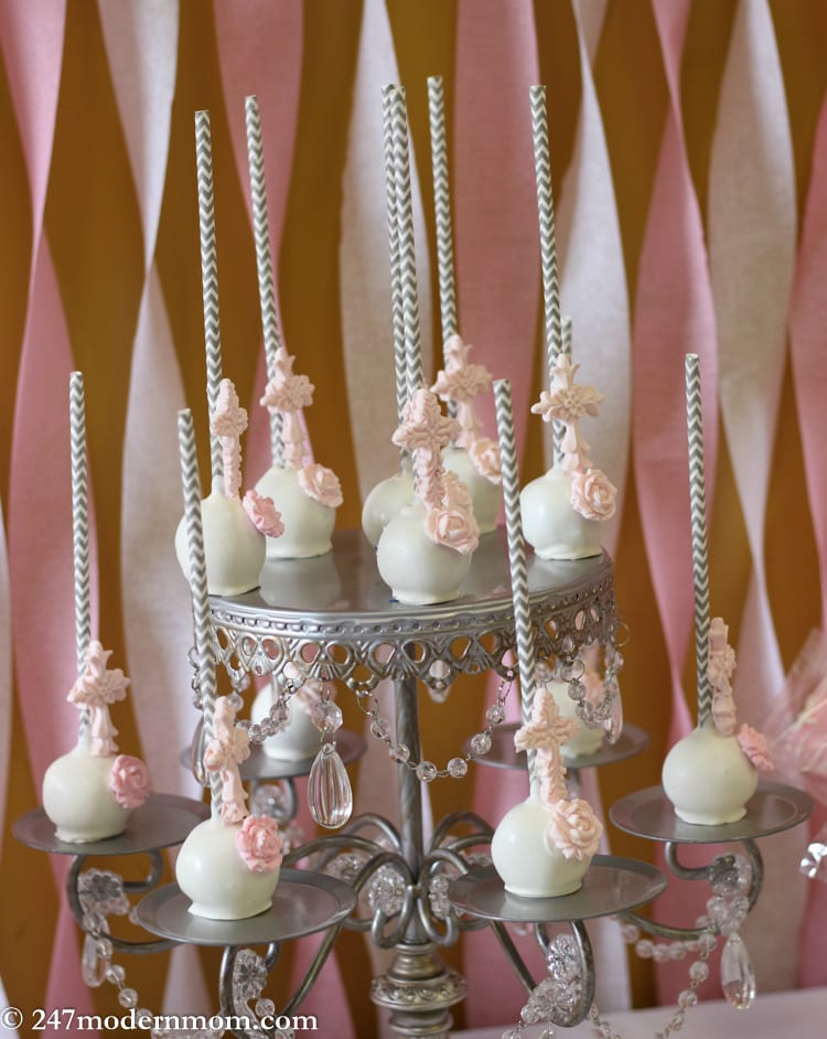 White Cake Pops with Pink Cross