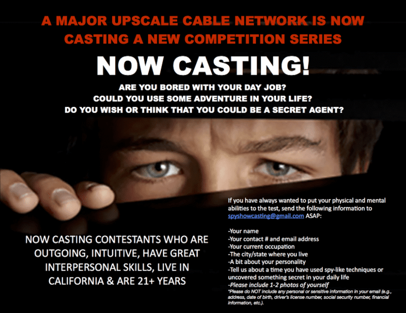 CASTING CALL: Could You Be a Secret Agent?