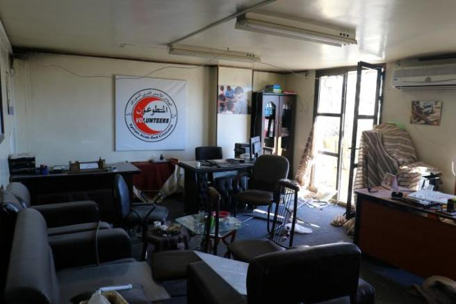 A view shows the damage inside a Syrian Arab Red Crescent centre after it was hit at dawn by an airstrike in the rebel-held Idlib City, Syria.