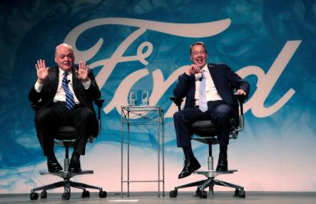 Ford Motor Executive Chairman Bill Ford (R) and James Hackett answer questions from the media after announcing Hackett was named Ford Motor Company president and CEO, succeeding Mark Fields, in Dearborn, Michigan, U.S.