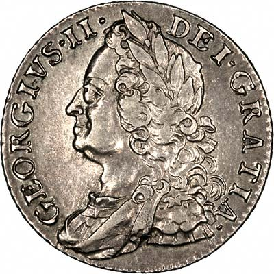 Obverse of 1758 George II Shilling