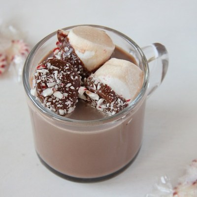 Chocolate Peppermint Dipped Marshmallows & Smores