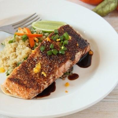 Quinoa Flake Crusted Salmon with Orange Balsamic Reduction
