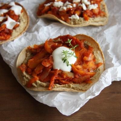 Carrot Tinga Tostadas with Lentil Hummus